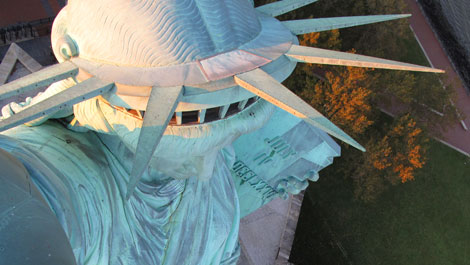 Unique View from the Torch of Lady Liberty's Crown